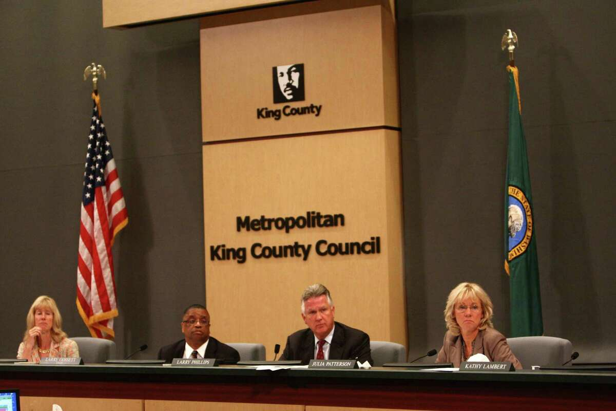Members of the King County Council listen to testimony during a meeting of the King County Council on Monday, July 30, 2012 at Metropolitan King County Council chambers.