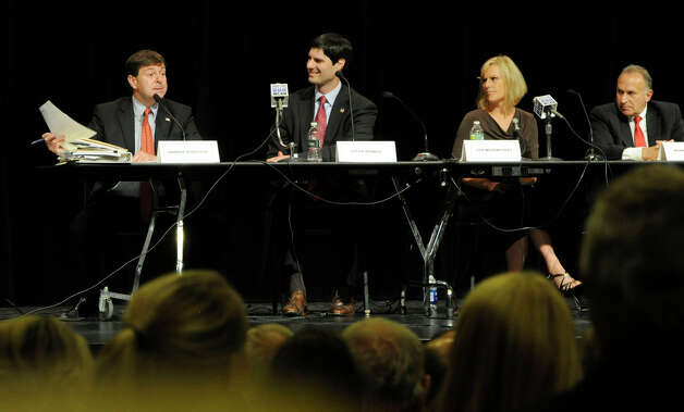 The four Republican candidates for the 5th Congressional District, debate Monday evening, July 30, 2012. They are from left, Andrew Roraback, Justin Bernier, Lisa Wilson-Foley and Mark Greenberg. The debate, held at Brookfield High School, was sponsored by the Brookfield Town Committee. Photo: Carol Kaliff / The News-Times