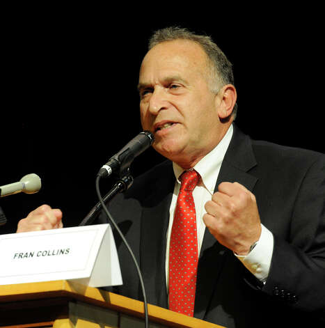 Mark Greenberg, a candidate for the 5th Congressional District, makes opening remarks at a debate sponsored by the Brookfield Republican Town Committee on Monday evening, July 30, 2012, at Brookfield High School. Photo: Carol Kaliff
