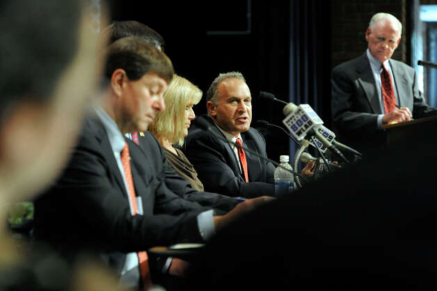 The four Republican candidates for the 5th Congressional District, debate Monday evening, July 30, 2012. The debate, held at Brookfield High School, was sponsored by the Brookfield Town Committee. Photo: Carol Kaliff / The News-Times