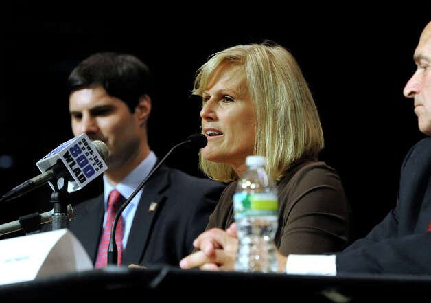 Lisa Wilson-Foley speaks at a debate of 5th Congressional Republican candidates Monday evening, July 30, 2012, sponsored by the Brookfield Republican Town Committee and held at Brookfield High School. Photo: Carol Kaliff / The News-Times