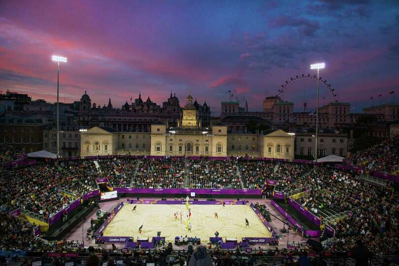 Evening falls over the Horse Guards Parade beach volleyball venue during pool play at the 2012 Londo