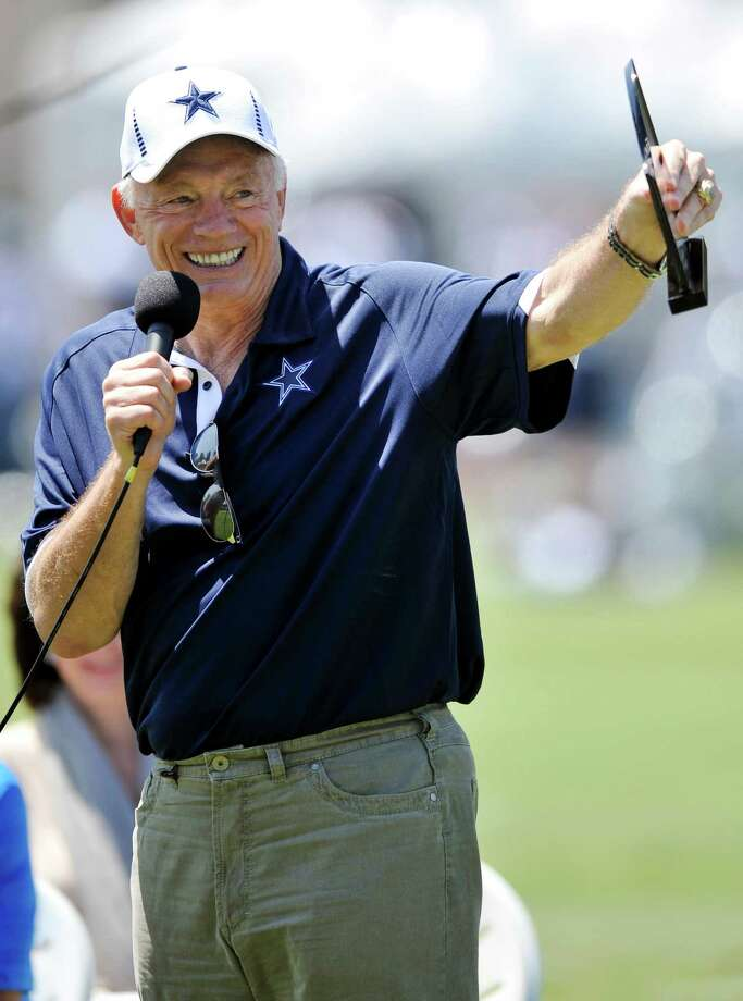 "Ignoring the furor over the botched game-deciding call in Seattle's improbable 14-12 win over Green Bay, Dallas Cowboys owner Jerry Jones said Tuesday the NFL has been ""exciting"" and ""great"" with replacement referees working its games. Photo: Gus Ruelas,  Associated Press / FR157633 AP"