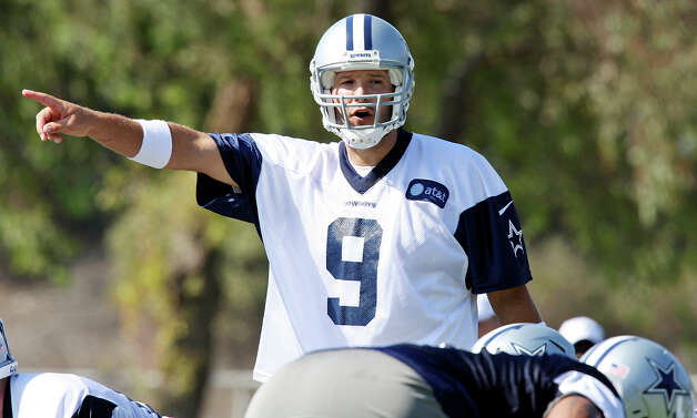 Dallas Cowboys quarterback Tony Romo calls a play during the first day of their 2012 training camp Monday July 30, 2012 in Oxnard, CA. Photo: Edward A. Ornelas, San Antonio Express-News / © 2012 San Antonio Express-News