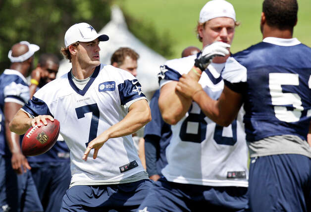 Dallas Cowboys quarterback Stephen McGee looks to pass during the first day of their 2012 training camp Monday July 30, 2012 in Oxnard, CA. Photo: Edward A. Ornelas, San Antonio Express-News / © 2012 San Antonio Express-News