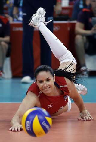 United States' Lindsey Berg reaches for the ball during a women's preliminary volleyball match against Brazil at the 2012 Summer Olympics, Monday, July 30, 2012, in London. (Jeff Roberson / Associated Press)