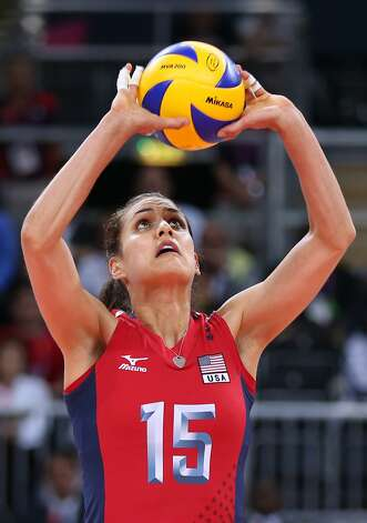 Logan Tom of United States sets the ball in the Women's Volleyball Preliminary match between the United States and Brazil on Day 3 of the London 2012 Olympic Games at Earls Court on July 30, 2012 in London, England. (Elsa / Getty Images)