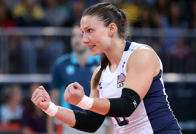 Nicole Davis of United States celebrates a point in the Women's Volleyball Preliminary match between the United States and Brazil on Day 3 of the London 2012 Olympic Games at Earls Court on July 30, 2012 in London, England. (Elsa / Getty Images)