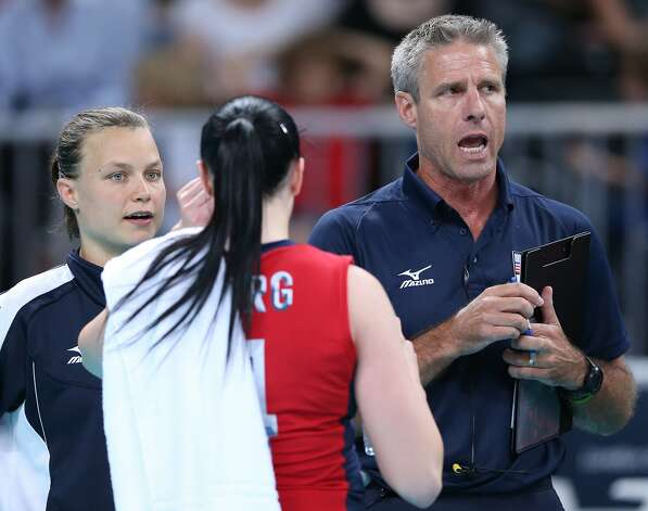 The United States assistant coach Karch Kiraly discusses tactics in the Women's Volleyball Preliminary match between the United States and Brazil on Day 3 of the London 2012 Olympic Games at Earls Court on July 30, 2012 in London, England. (Elsa / Getty Images)