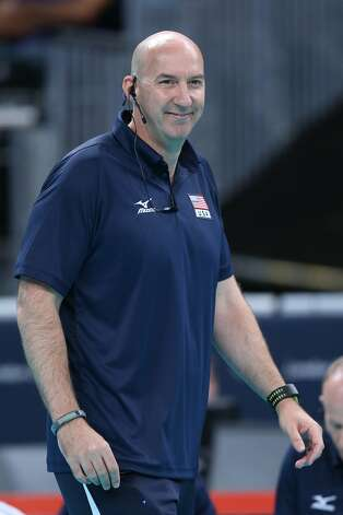 The United States head coach Hugh McCutcheonlooks on in the Women's Volleyball Preliminary match between the United States and Brazil on Day 3 of the London 2012 Olympic Games at Earls Court on July 30, 2012 in London, England. (Elsa / Getty Images)