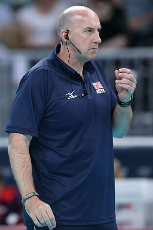 The United States head coach Hugh McCutcheon looks on in the Women's Volleyball Preliminary match between the United States and Brazil on Day 3 of the London 2012 Olympic Games at Earls Court on July 30, 2012 in London, England. (Elsa / Getty Images)