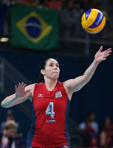 Lindsey Berg of United States serves in the Women's Volleyball Preliminary match between the United States and Brazil on Day 3 of the London 2012 Olympic Games at Earls Court on July 30, 2012 in London, England. (Elsa / Getty Images)