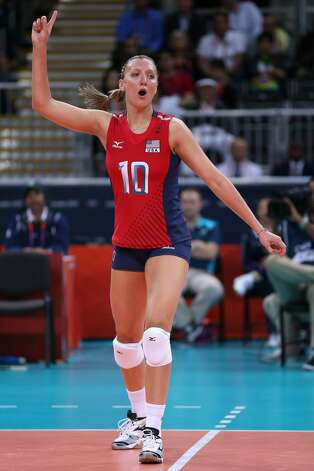 Jordan Larson of United States reacts in the Women's Volleyball Preliminary match between the United States and Brazil on Day 3 of the London 2012 Olympic Games at Earls Court on July 30, 2012 in London, England. (Elsa / Getty Images)
