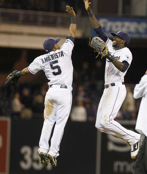 July 17, 2012 Alexi Amarista and Cameron Maybin celebrate the Padres' 8-2 wi
