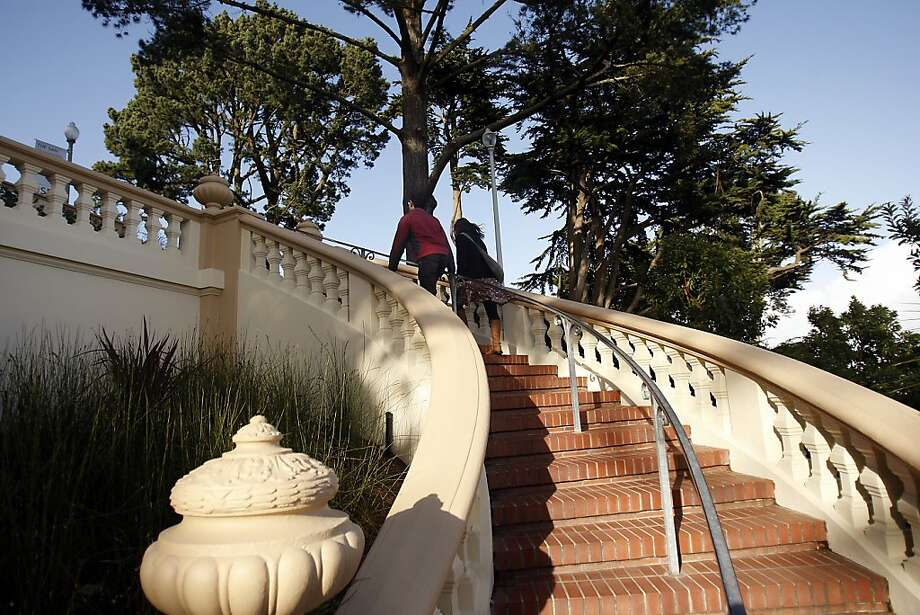 A curving staircase, modeled after the Spanish Steps in Rome, goes from Turk Boulevard to the old Lone Mountain College campus, now part of USF. Photo: Siana Hristova, The Chronicle