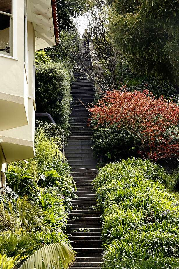 The unusually quiet Baker Street steps connect the homes of two Gettys - Billy and Gordon. Photo: Siana Hristova, The Chronicle