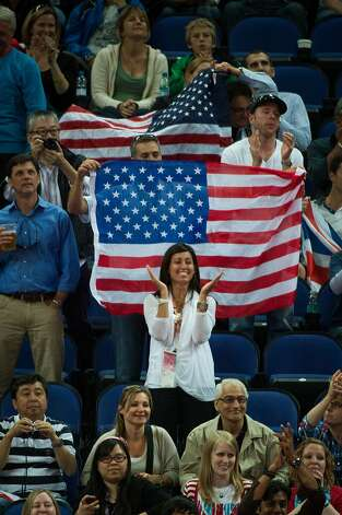 Fans cheer for the USA during the men's gymnastics team final at the 2012 London Olympics on Monday, July 30, 2012. The USA finished in 5th place. (Smiley N. Pool / Houston Chronicle)