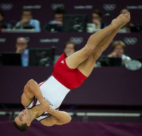 Jake Dalton of the USA performs on floor exercise during the men's gymnastics team final at the 2012 London Olympics on Monday, July 30, 2012. The USA finished in 5th place. (Smiley N. Pool / Houston Chronicle)