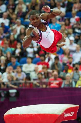 John Orozco of the USA performs on the vault during the men's gymnastics team final at the 2012 London Olympics on Monday, July 30, 2012. The USA finished in 5th place. (Smiley N. Pool / Houston Chronicle)