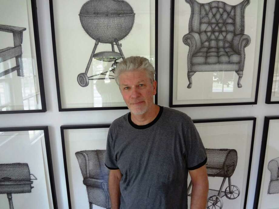Artist Mark Hogensen is showing new ink drawings of vigorously rendered barbecue grills and chairs at Unit B Gallery. Photo: Steve Bennett, San Antonio Express-News