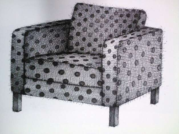 "Vigorously rendered pen drawings of chairs and barbecue grills are featured in ""Mark Hogensen: New Drawings"" at Unit B Gallery."