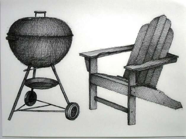 "Vigorously rendered pen drawings of chairs and barbecue grills are featured in ""Mark Hogensen: New Drawings"" at Unit B Gallery. ""Drawing is just so immediate. I like the fact that you can put black-and-white marks onto a page and by the way it's organized convince a viewer that he is seeing something,"" Hogensen says."