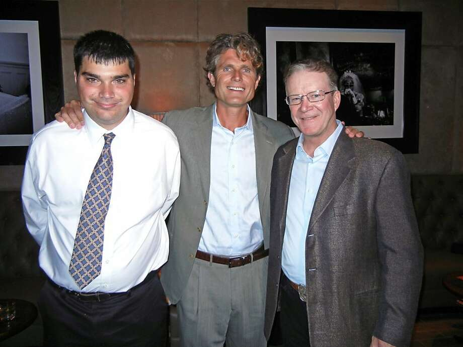 Best Buddies ambassador John Hammond (left) with Best Buddies founder Anthony Shriver and Hearst Corp. V.P. Steve Hearst at MatrixFillmore. July 2012. By Catherine Bigelow. Photo: Catherine Bigelow, Special To The Chronicle