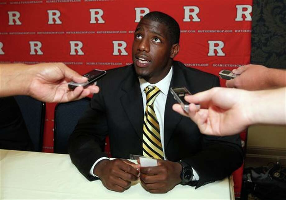 Rutgers safety Duron Harmon answers questions from the print media during the Big East Conference NCAA college football media day, Tuesday, July 31, 2012, Newport, R.I. (AP Photo/Stew Milne)