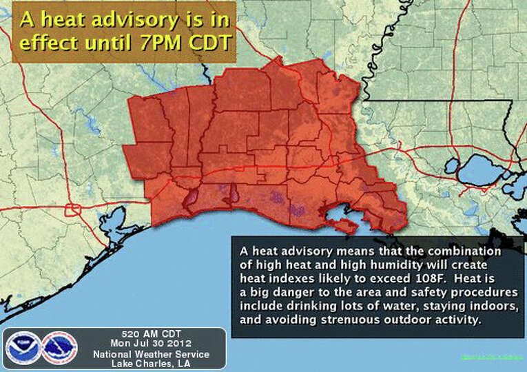 A heat advisory is in effect for Jasper and Newton Counties as well as surrounding areas.