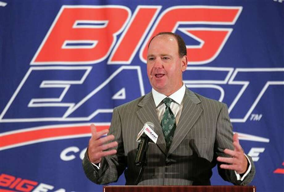 University of South Florida head football coach Skip Holtz speaks with the media during the Big East Conference NCAA college football media day, Tuesday, July 31, 2012, Newport, R.I. (AP Photo/Stew Milne)