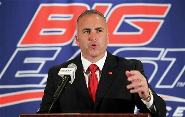 Rutgers head football coach Kyle Flood speaks with the media during the Big East Conference NCAA college football media day, Tuesday, July 31, 2012, Newport, R.I. (AP Photo/Stew Milne) / AP2012