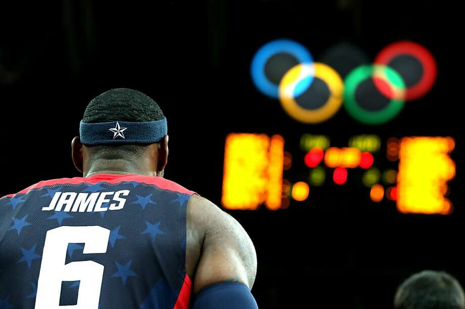 LONDON, ENGLAND - JULY 31:  Lebron James #6 of United States looks on prior to the game against Tunisia during the Men's Basketball Preliminary Round match on Day 4 of the London 2012 Olympic Games at Basketball Arena on July 31, 2012 in London, England.  (Photo by Christian Petersen/Getty Images) Photo: Christian Petersen, Getty Images