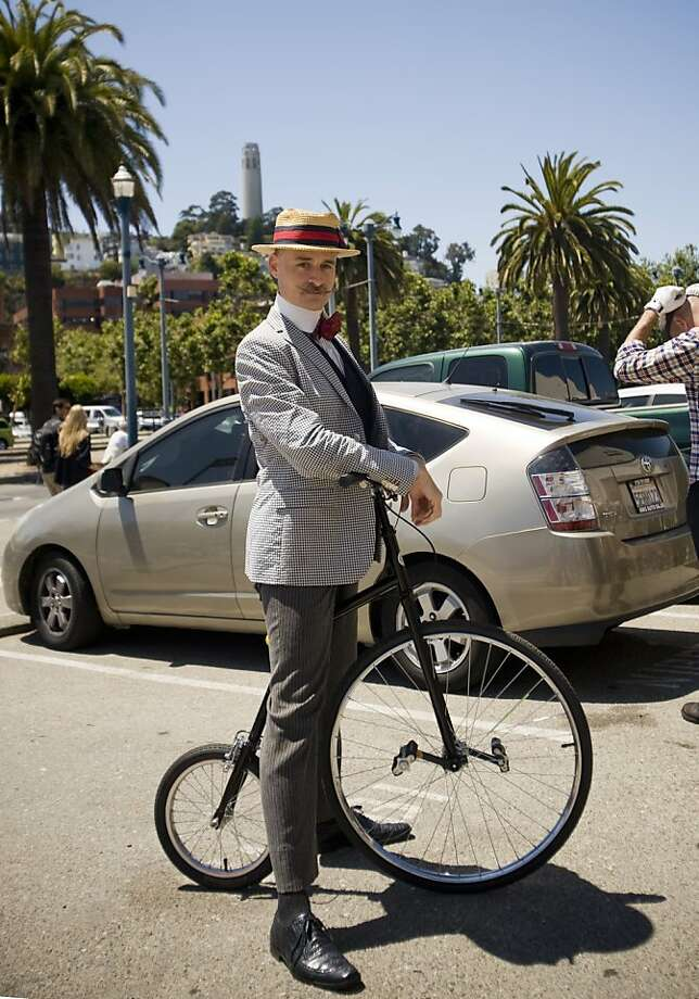 Alan Randall Smith and his penny-farthing bicycle took part in the SF Tweed Ride on July 28. Photo: Pamela Palma