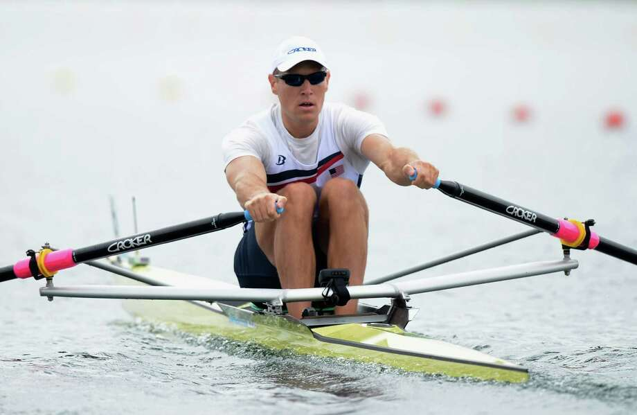 WINDSOR, ENGLAND - JULY 31:  Kenneth Jurkowski, of New Fairfield, competes in the Men's Single Sculls on Day 4 of the London 2012 Olympic Games at Eton Dorney at Eton Dorney on July 31, 2012 in Windsor, England.  (Photo by Harry How/Getty Images) Photo: Harry How, Getty Images / 2012 Getty Images
