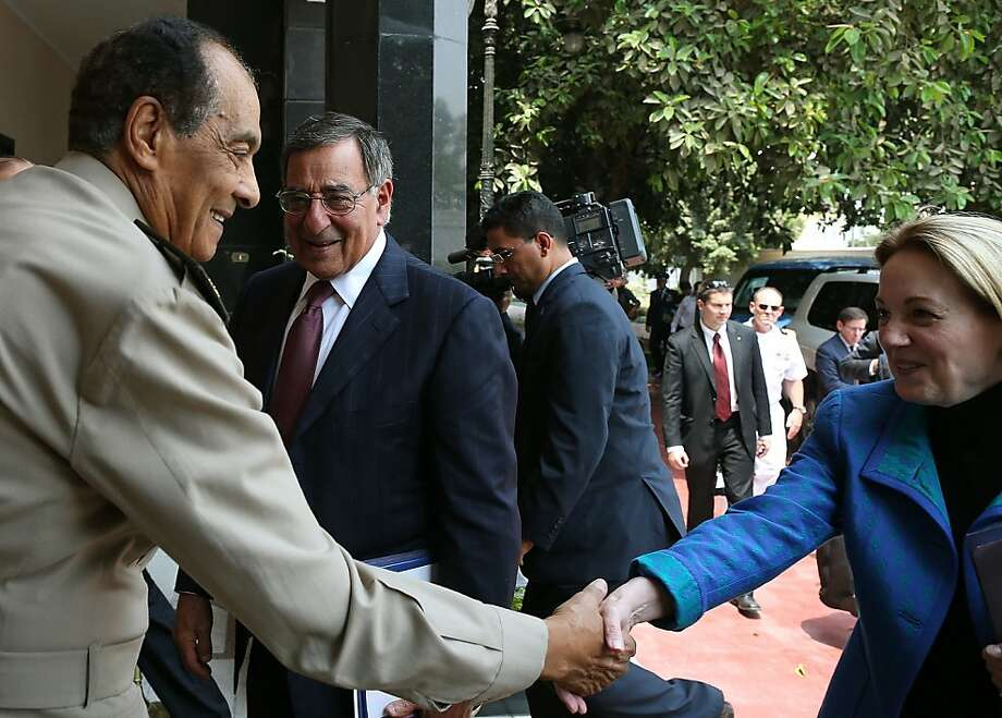 U.S. Secretary of Defense Leon Panetta (C) and U.S. Ambassador to Egypt Anne Patterson (R) are greeted by Egyptian Defense Minister Mohamed Hussein Tantawi (L), upon arriving at the Defense Ministry on July 31, 2012 in Cairo, Egypt. Secretary Panetta is on a four day trip to the Middle-East with stops in Tunisia, Egypt, Israel and Jordan before returning to Washington. AFP PHOTO/MARK WILSON-POOLMARK WILSON/AFP/GettyImages Photo: Mark Wilson, AFP/Getty Images