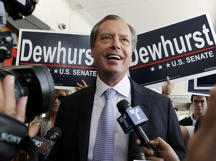 Texas Lt. Gov. David Dewhurst is backed by supporters outside a Houston deli as he answers reporters questions Tuesday, July 31, 2012. Dewhurst faces former Texas Solicitor General Ted Cruz in the Republican primary runoff election for U.S. Senator. (AP Photo/Pat Sullivan) Photo: Pat Sullivan, Associated Press