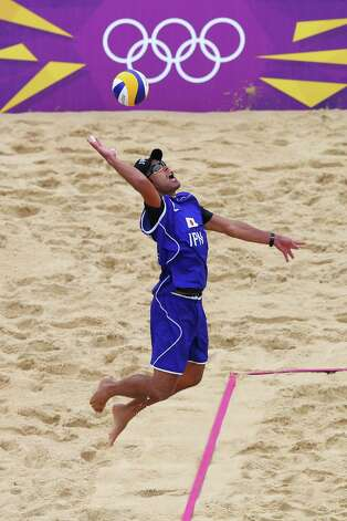 LONDON, ENGLAND - JULY 31: Katsuhiro Shiratori of Japan takes a shot during the Men's Beach Volleyball Preliminary match between Czech Republic and Japan on Day 4 at Horse Guards Parade on July 31, 2012 in London, England.  (Photo by Ryan Pierse/Getty Images) Photo: Ryan Pierse, Getty Images / 2012 Getty Images