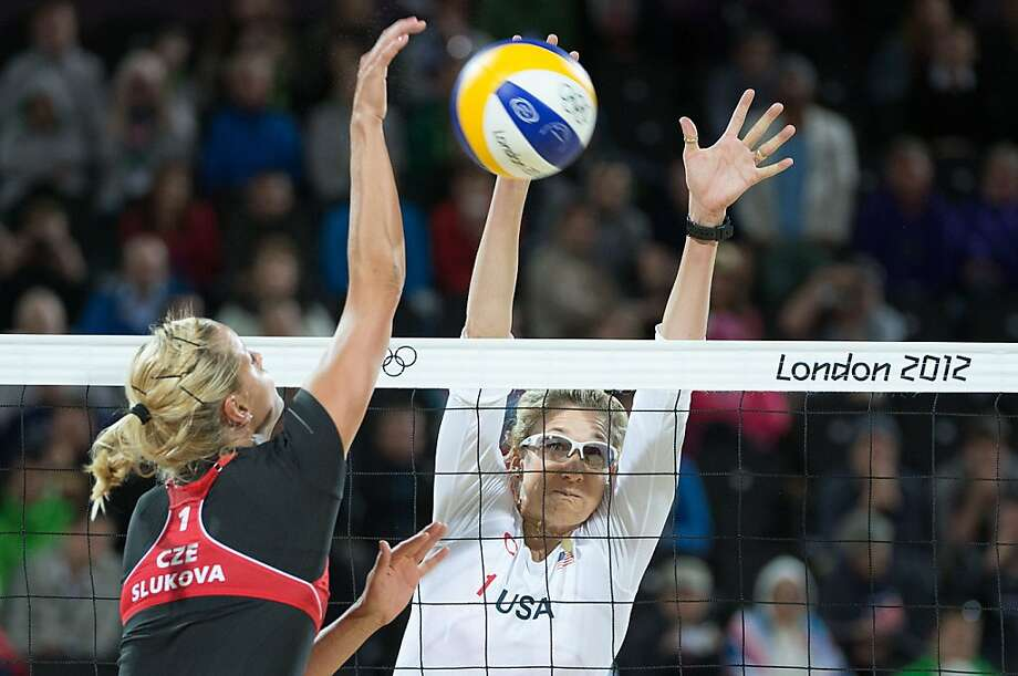 Kerri Walsh goes for a block during a beach volleyball match against Czech Republic at the 2012 London Olympics on Monday, July 30, 2012. ( Smiley N. Pool / Houston Chronicle ) Photo: Smiley N. Pool, Houston Chronicle