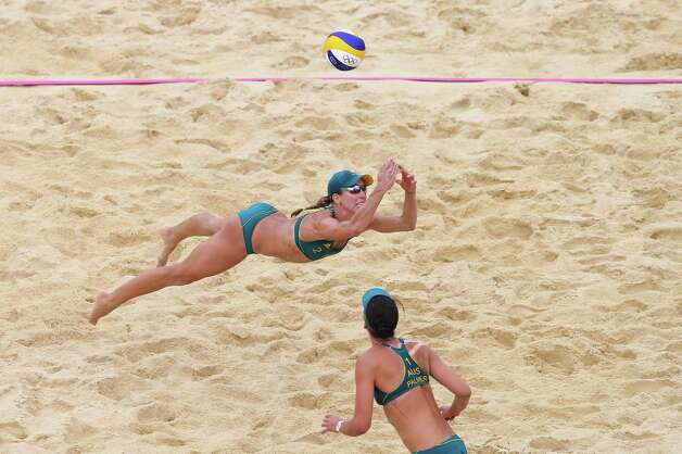 LONDON, ENGLAND - JULY 31:  Louise Bawden of Australia dives for a shot during the Women's Beach Volleyball Preliminary match between Australia and the Netherlands on Day 4 at Horse Guards Parade on July 31, 2012 in London, England.  (Photo by Ryan Pierse/Getty Images) Photo: Ryan Pierse, Getty Images / 2012 Getty Images