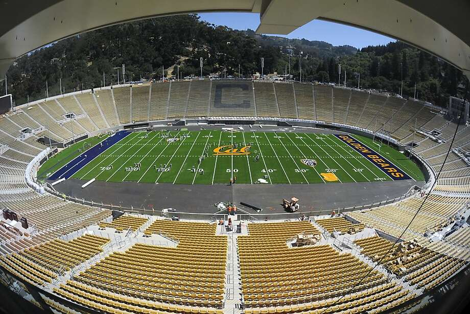 A general view of the stadium with the newly laid synthetic turf.  Assistant AD / Capital Planning & Management Bob Milano Jr. gave a tour of the soon to be completed renovations of Cal Memorial Stadium Tuesday July 31st, 2012 Photo: Michael Short, Special To The Chronicle