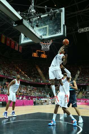 Mickael Gelabale #15 of France takes a rebound in the Men's Basketball Preliminary Round match between France and Argentina on Day 4 of the London 2012 Olympic Games at Basketball Arena on July 31, 2012 in London, England. (Christian Petersen / Getty Images)