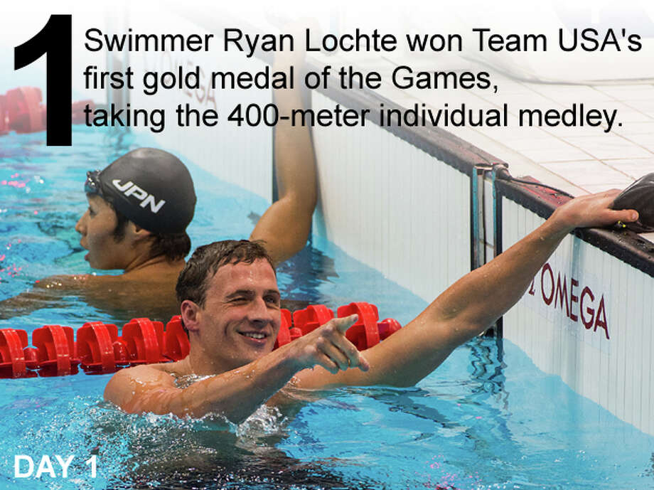 Swimmer Ryan Lochte of the USA reacts after winning the 400-meter individual medley at the 2012 London Olympics on Saturday, July 28, 2012. Photo: Smiley N. Pool / Houston Chronicle; San Antonio Express-News Photo Illustration / © 2012  Houston Chronicle