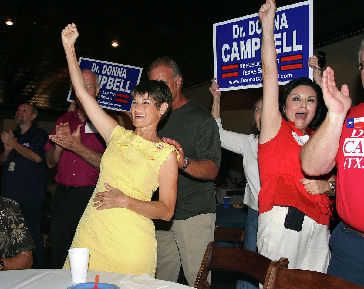 Donna Campbell celebrates her runoff victory over Senator Jeff Wentworth just as she arrives at the Seekatz Opera House in New Braunfels on July 31, 2012.