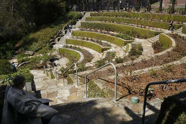 Berkeley Rose Garden: The Berkeley Rose Garden terraces are steps away from the Rose Walk, which leads to ecluded benches, well-kept bushes and a collection of Henry Gutterson cottages. Photo: Siana Hristova, The Chronicle