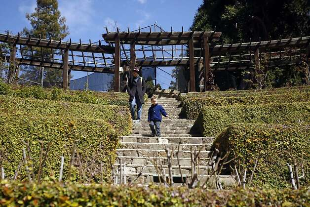 Berkeley Rose Garden: Leslie Gray and her son Levi Freedman 4 years old walks the Rose Garden in Berkeley.