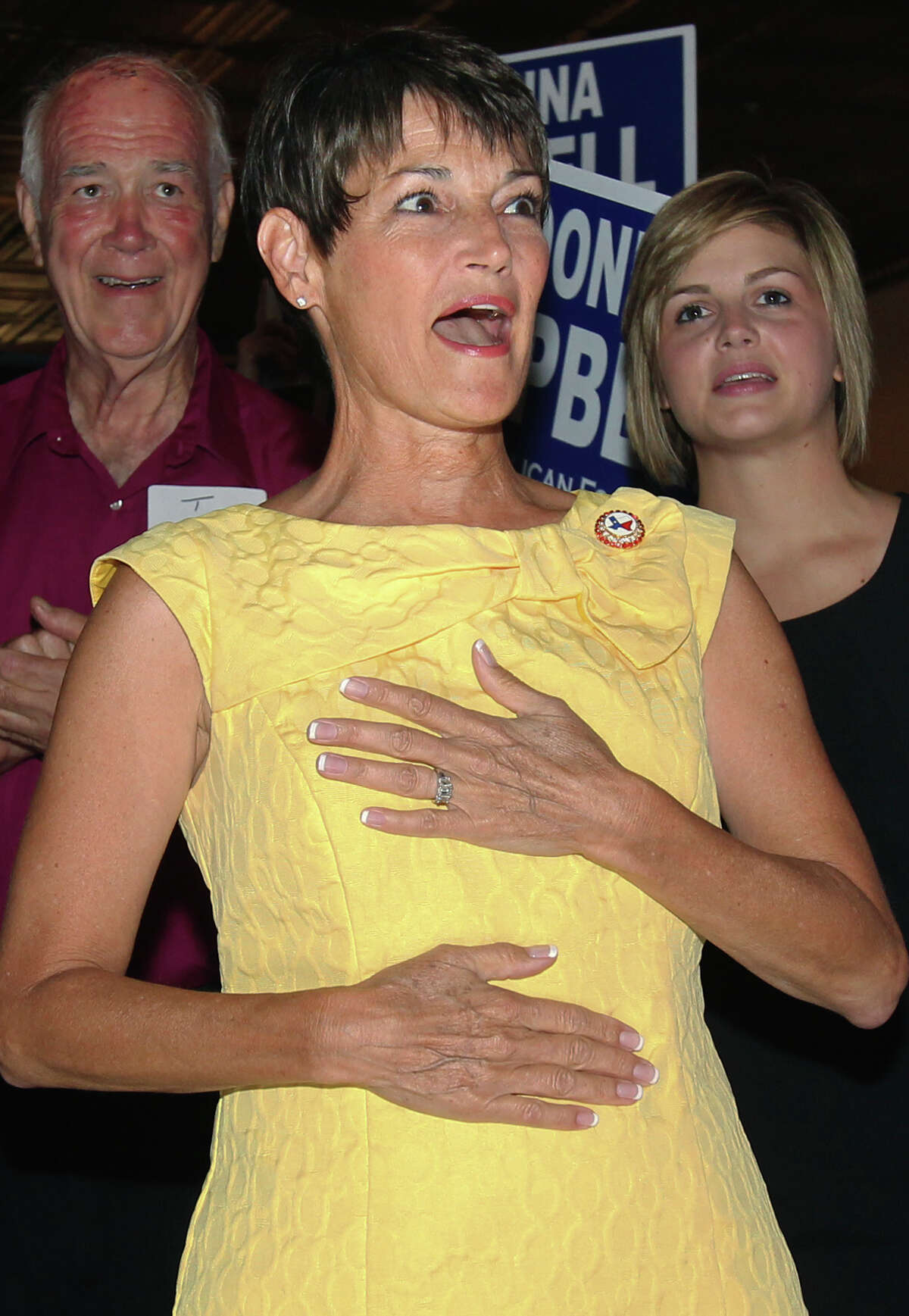 Donna Campbell reacts to an election return posting that shows her with a large lead in her runoff with Senator Jeff Wentworth at the Seekatz Opera House in New Braunfels on July 31, 2012.