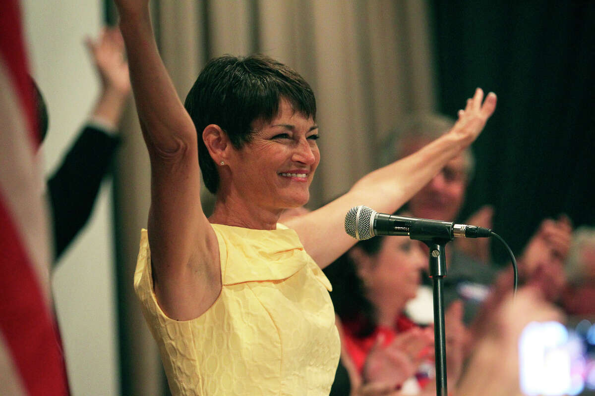 Donna Campbell celebrates her runoff victory over Senator Jeff Wentworth at the Seekatz Opera House in New Braunfels on July 31, 2012.