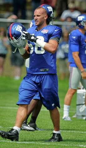 New York Giants linebacker Mark Herzlich during  a training camp practice at UAlbany on Monday July 30, 2012 in Albany, NY.  (Philip Kamrass / Times Union) Photo: Philip Kamrass / 00018618A