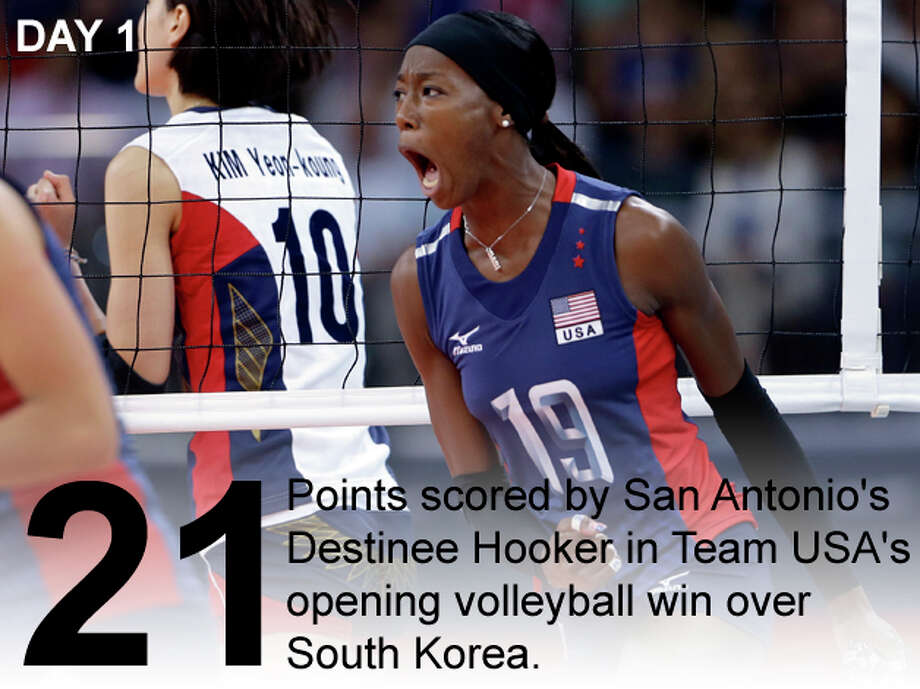 United States' Destinee Hooker, right, celebrates after getting a shot past South Korea's Kim Yeon-Koung, left, during a women's preliminary volleyball match at the 2012 Summer Olympics, Saturday, July 28, 2012, in London. Photo: Jeff Roberson / Associated Press; San Antonio Express-News Photo Illustration / AP