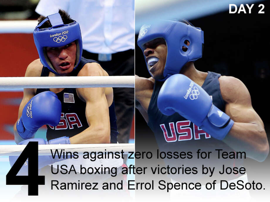 LEFT: Jose Ramirez of Team USA in action during the men's light (60kg) boxing bout on day 2 of the London 2012 Olympic Games at ExCeL on July 29, 2012 in London, England. (Scott Heavey / Getty Images) RIGHT: USA's Errol Spence fights during the men's welter 69-kg boxing match at the 2012 Summer Olympics, Sunday, July 29, 2012, in London. (Ivan Sekretarev / Associated Press) Photo: San Antonio Express-News Photo Illustration